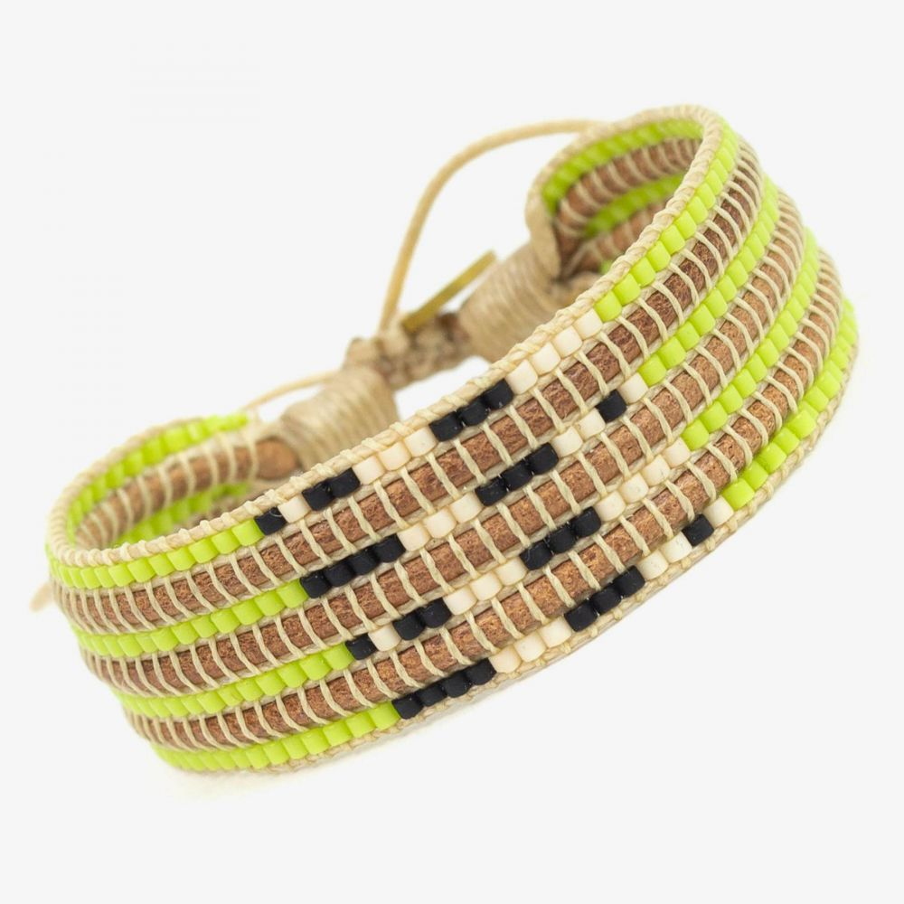 Strass LEATHER - Fluor green & Black