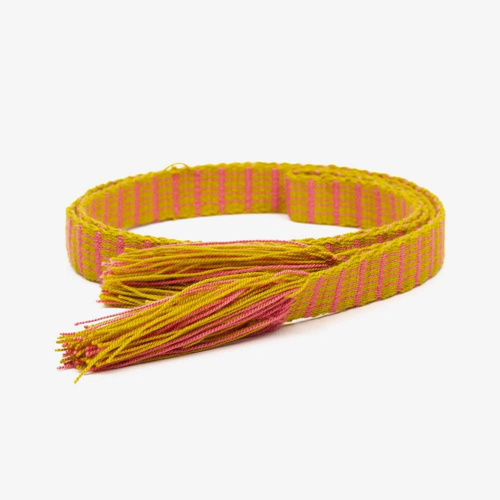 Thin belt with fringes - Mustard & Pink