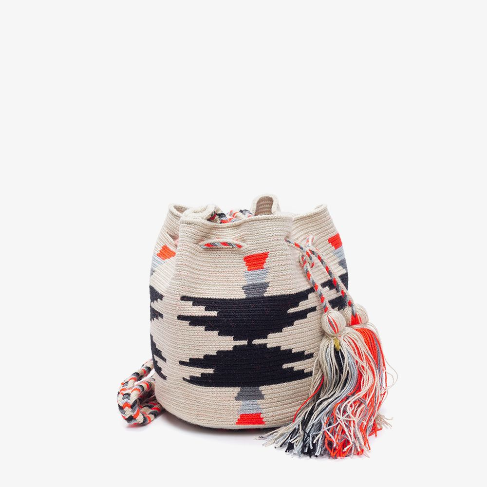 Crossbody M - SCALARE- Light grey & Black & Neon Orange
