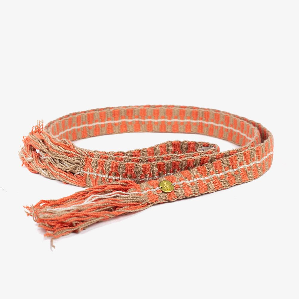 Thin cotton belt with fringes- Coral & Toast